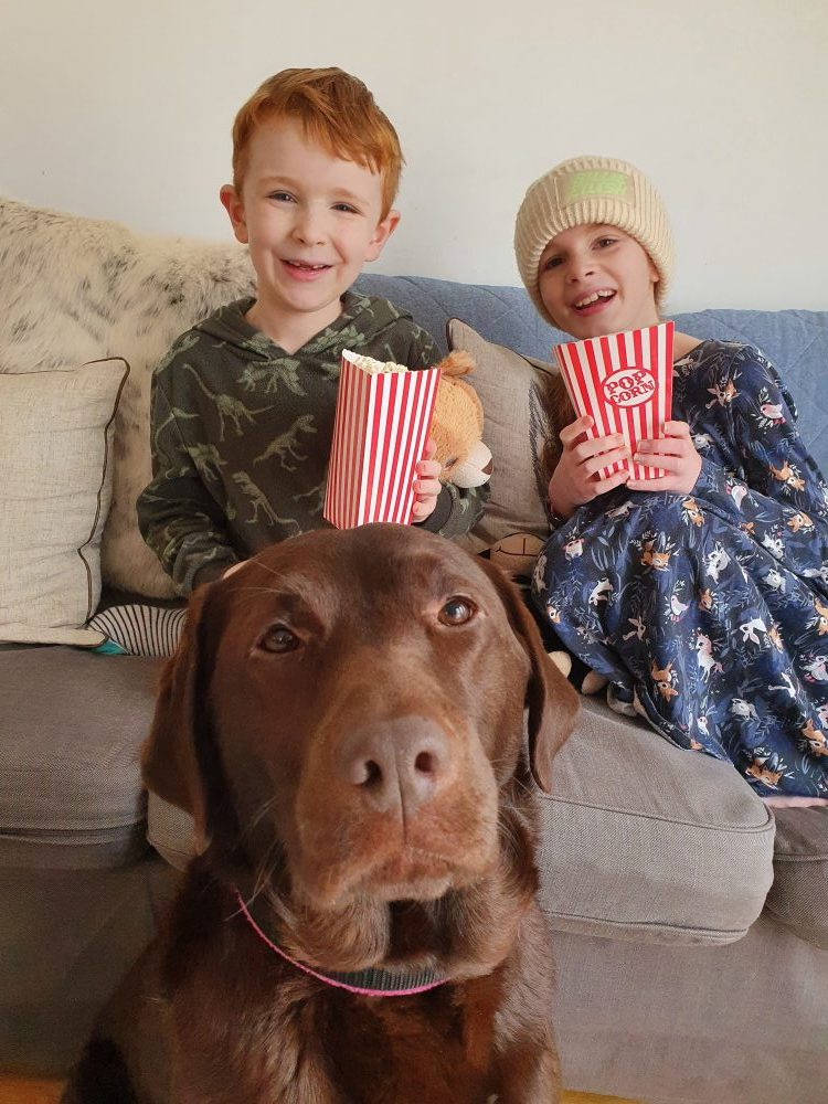 """An image of a young boy and girl holding popcorn whislt an assistance dog sits near by"""