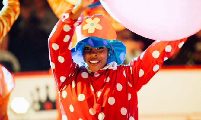 A performer clowning around in the Circus Starr Big Top last year.
