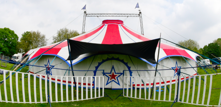 Red and white big top circus tent